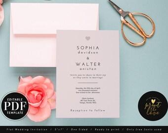 PDF Wedding Invitation, PDF Wedding Invite Template Download, Printable Editable Wedding Invitation, Editable pdf Invitation, DIY (Sophia)