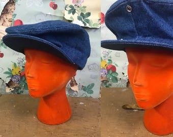 Vintage 1970s Denim Newsboy Snap Brimmed Hat. XL. 7 1/2 - 7 5/8.