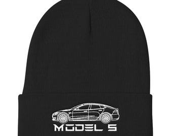 Tesla Model S Electric Car Knit Beanie Hat