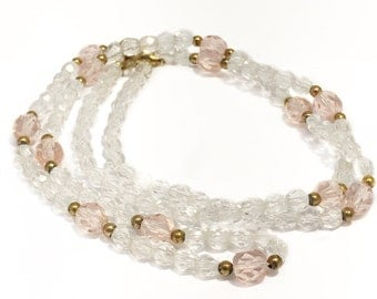 Clear crystal beaded necklace with pink and gold accent beads, vintage necklace