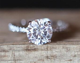Prongs C&C Moissanite Ring 7mm Round Cut Forever Brilliant Moissanite Engagement Ring Half Eternity Diamond Ring 14K White Gold Promise Ring