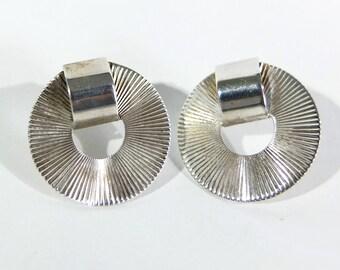 Vintage Italian Sterling Silver Starburst Pierced Earrings