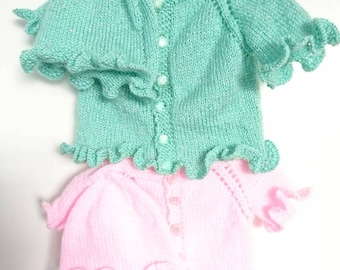 Ella - Newborn, pink/mint sparkly, hand knitted, baby girls bonnet and cardigan set with pretty frilly edge brim.