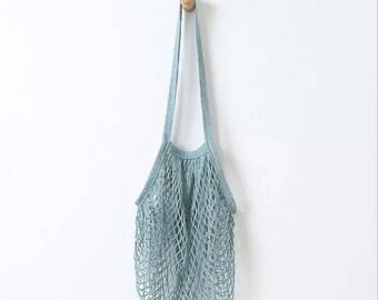 Eco Friendly Natural Cotton Net Bag Simple Purse Market Bag netted  crochet knit cotton bag