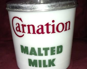 antique Carnation Malted Milk canister from soda fountain counter