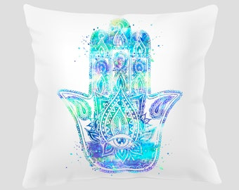 Hamsa #4 Throw Pillow, Pillow Cover, Accent Pillow, Zen Decor