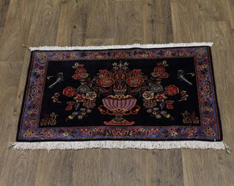 Beautiful Hand Knotted Floral Small Kashan Persian Rug Oriental Area Carpet 2X3