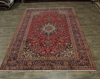 Nice Traditional Semi Antique Red Kashan Persian Rug Oriental Area Carpet 8X12