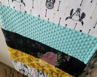 Double minky strip blanket 52x62