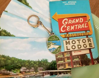 Ozarks postcards and keychain late 1950s