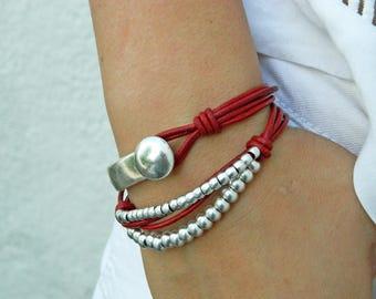 Wrap Boho bracelet,wrap bracelet,leather wrap bracelet,beaded wrap bracelet,leather bracelet, silver plated,beaded bracelet,PC010