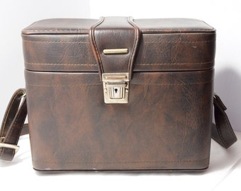Hard Sided Camera Case Vintage 12'' Brown with Shoulder Strap for SLR Cameras