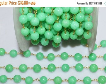 50% OFF Beautiful Mystic Agate Chrysoprase Round Rosary Beaded Chain-Mystic Agate Smooth Round Gold Wire Chain , 9.25-9.50 mm - RB5288