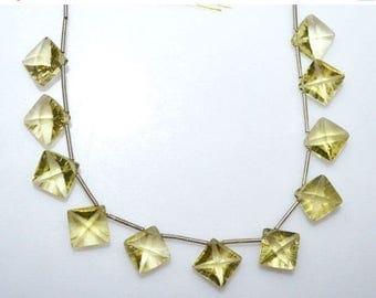 """50% OFF 1 Strand Natural Lemon Quartz Concave Cut Cushion Shape Beads - Faceted Concave Cut Briolette , 10 x 10 mm , 7"""" , BL2812"""