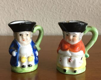 1950's Miniature Toby Jugs- Pair of Made in Japan Toby Jugs