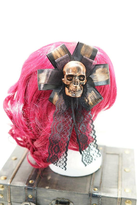 Gothic skull copper bronze & black bow hairpin brooch / copper bronze of black skull resin with loop hair clip and brooch