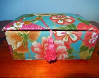 Fabric covered trinket box, keepsake box, handmade, lined and padded box
