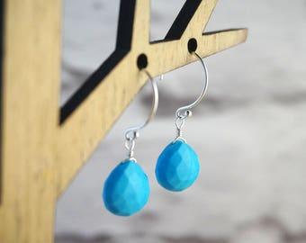 Turquoise Earrings, Sterling Silver Earrings, December Birthstone Earrings, Birthstone Jewelry, Turquoise Jewelry, Blue Gemstone Earrings