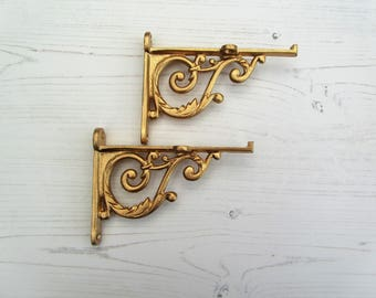 pair of victorian scroll gold finish cast iron shelf bracket vintage rustic style antique style