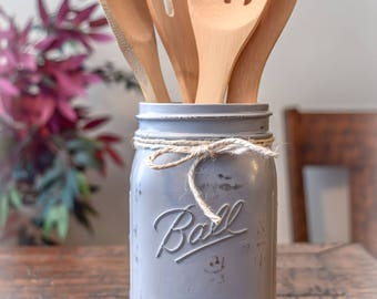 Gray Distressed/Rustic Utensil Jar, Home Decor, Farmhouse Decor, Rustic Decor, Vintage Decor, Farmhouse Kitchen, Country Kitchen