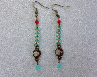 Red Japanese paper and string turquoise spikes earrings.
