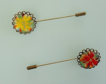 Brooch - paper flowers-Japanese Red or yellow.