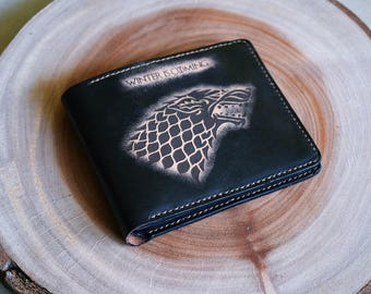 House Stark-Man wallet/game of thrones wallet/gift for man/leather wallet/personalized wallet/anniversary gifts/stark wallet/boyfriend gift