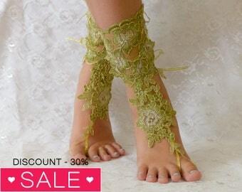 Green Barefoot sandals, beach wedding barefoot sandals, barefoot sandles, wedding barefoot sandals lace barefoot sandals