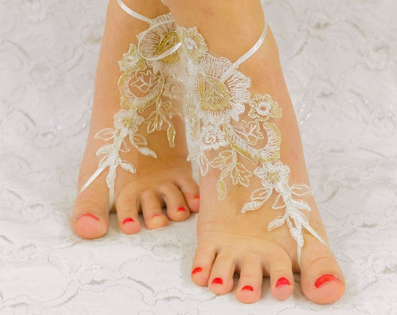 Wedding barefoot sandals, wedding shoes, wedding shoes lace, wedding shoes for bride, beach anklets