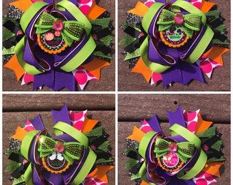 Halloween hair bow halloween hair bow frankenstein bow witch bow trick or treat girls hair bow halloween bow