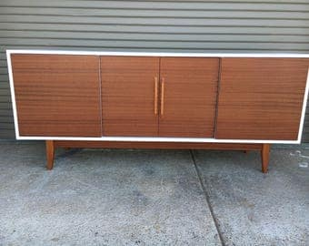 NEW Hand Built Mid Century Inspired Buffet / Credenza. Mahogany two tone four door with straight leg base.
