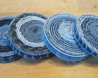 Upcycled denim set of 4 drink coasters