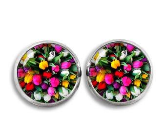 Tulips Stud Earrings Bouquet of Tulips Earrings 12mm Flower Earrings Jewelry  Photo Stud Earrings Glass Dome