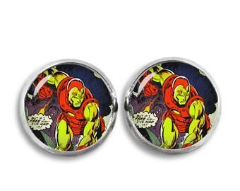 Iron Man Stud Earrings Iron Man earrings Iron Man Earrings Fandom Jewelry Cosplay Fangirl Fanboy