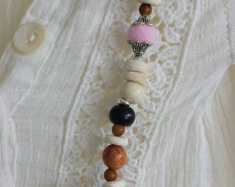 Handmade unique pink ball tassel necklace