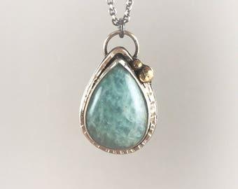 Amazonite Necklace - Green Stone Pendant - Amazonite Pendant - Green Stone Necklace - Mixed Metal - Brass and Silver