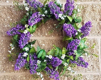 Lavender Shell Wreath ,Purple, cream, beauty, 20""