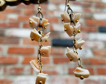 Pale Pink Coral gemstone and gold chain earrings- heart harmony
