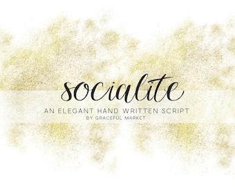 Socialite Script - Handwritten font - Cursive Letter font - Calligraphy font - Wedding font - Digital font download