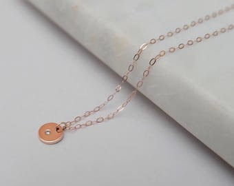 9ct rose gold disc pendent necklace with diamond