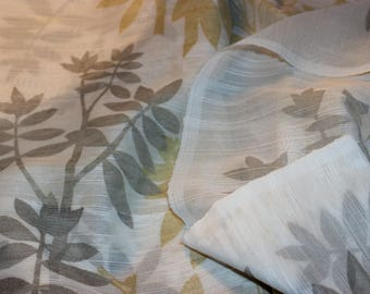 Wonderful vintage retro 60s pair of white Curtain lengths with leaves pattern in gray & yellow. Made in Sweden Scandinavian.