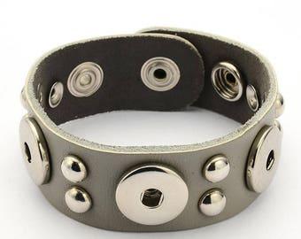 New Genuine Leather Gray Studded Three 18mm Snap Bracelet for Men or Women