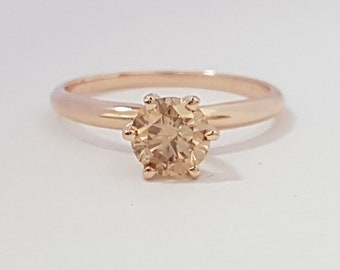 certified 0.75 ct round cut solitaire diamond engagement Ring 14k Rose gold hand made
