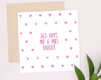 1st Anniversary Card, 365 days, Personalised Anniversary Card, Mr & Mrs Card, 1st Anniversary Gift, 1 Year Anniversary, Pink, Keepsake