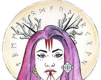 Viking Goddess / rune / illustration /woman
