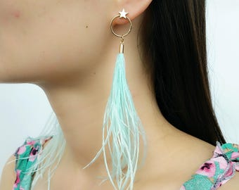 Long Dangle Earring Ostrich Feather Fashion Jewelry