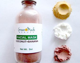 Facial DRY MASK with Coconut and Banana/ detox mask/ clay mask/ natural mask- 2oz
