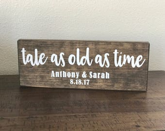 Customized Tale as Old as Time Wooden Sign