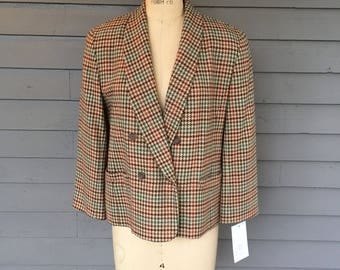 Shawl Collar Double Breasted Blazer Pendelton Wool Hounds tooth Tan Brown Orange and Blue | Made in the USA | Petite Large 14
