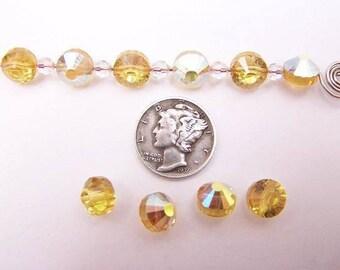 Swarovski 5101 Light Topaz AB 8mm Vintage Crystal Beads (6 pieces)